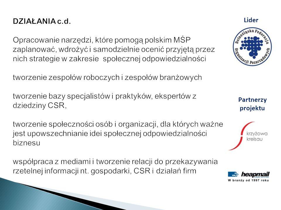 DZIAŁANIA c.d. Opracowanie narzędzi, które pomogą polskim MŚP zaplanować, wdrożyć i samodzielnie ocenić przyjętą przez nich strategie w zakresie społecznej odpowiedzialności tworzenie zespołów roboczych i zespołów branżowych tworzenie bazy specjalistów i praktyków, ekspertów z dziedziny CSR, tworzenie społeczności osób i organizacji, dla których ważne jest upowszechnianie idei społecznej odpowiedzialności biznesu współpraca z mediami i tworzenie relacji do przekazywania rzetelnej informacji nt. gospodarki, CSR i działań firm