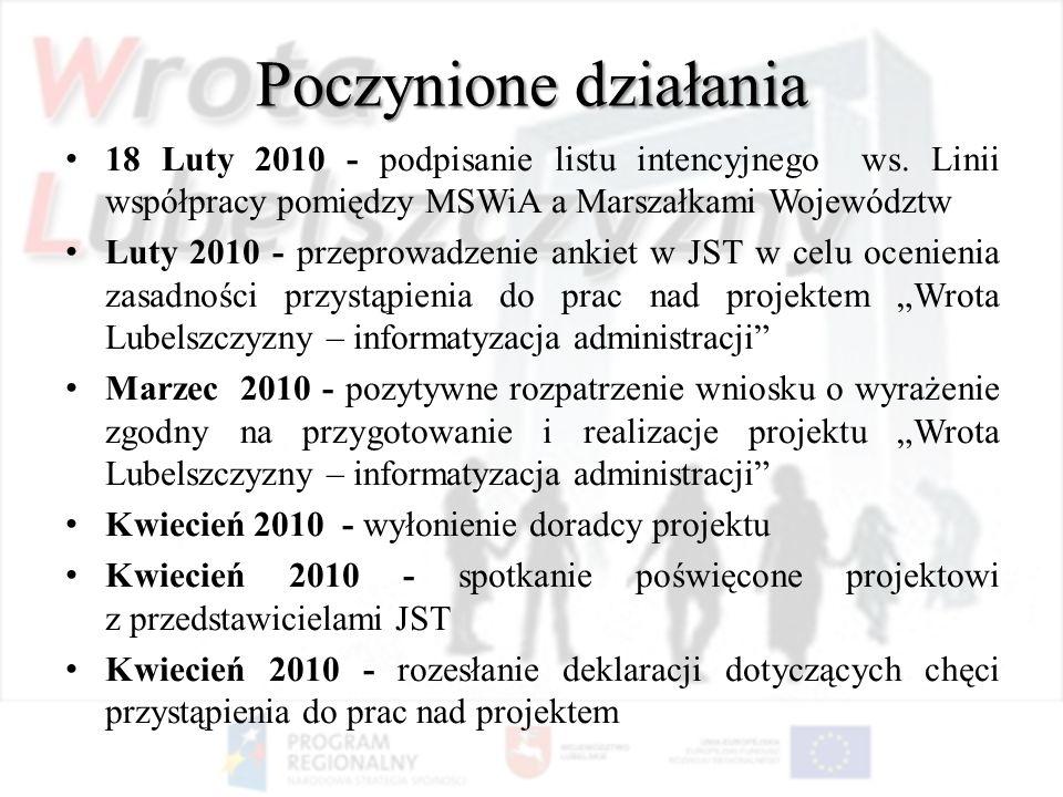 Poczynione działania 18 Luty 2010 - podpisanie listu intencyjnego ws. Linii współpracy pomiędzy MSWiA a Marszałkami Województw.