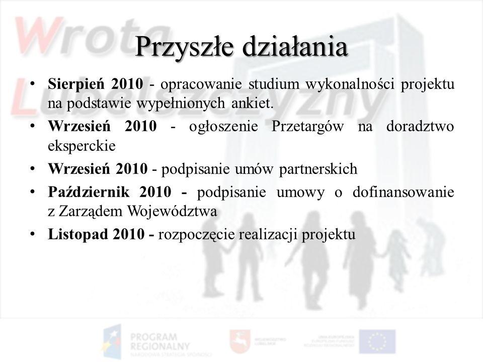 Przyszłe działaniaSierpień 2010 - opracowanie studium wykonalności projektu na podstawie wypełnionych ankiet.