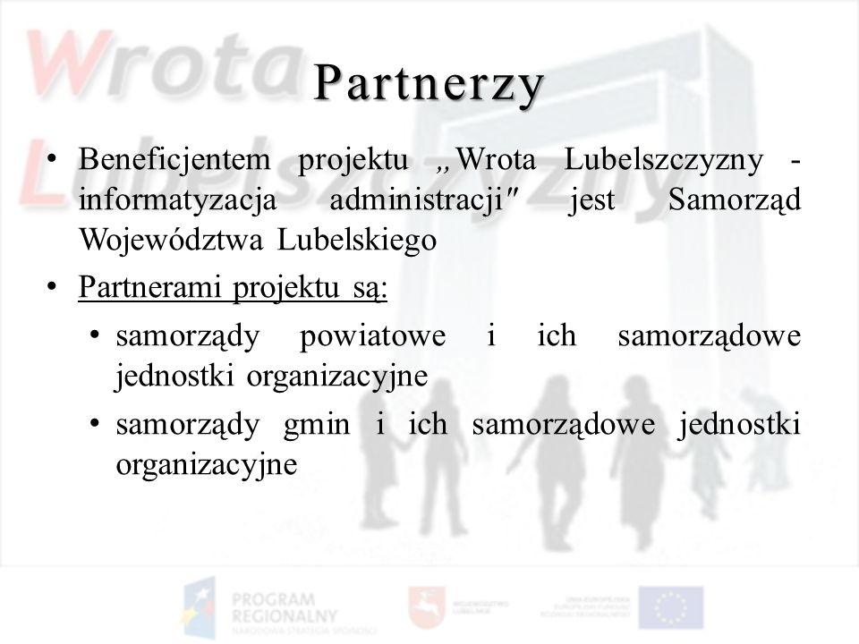 """Partnerzy Beneficjentem projektu """"Wrota Lubelszczyzny - informatyzacja administracji jest Samorząd Województwa Lubelskiego."""