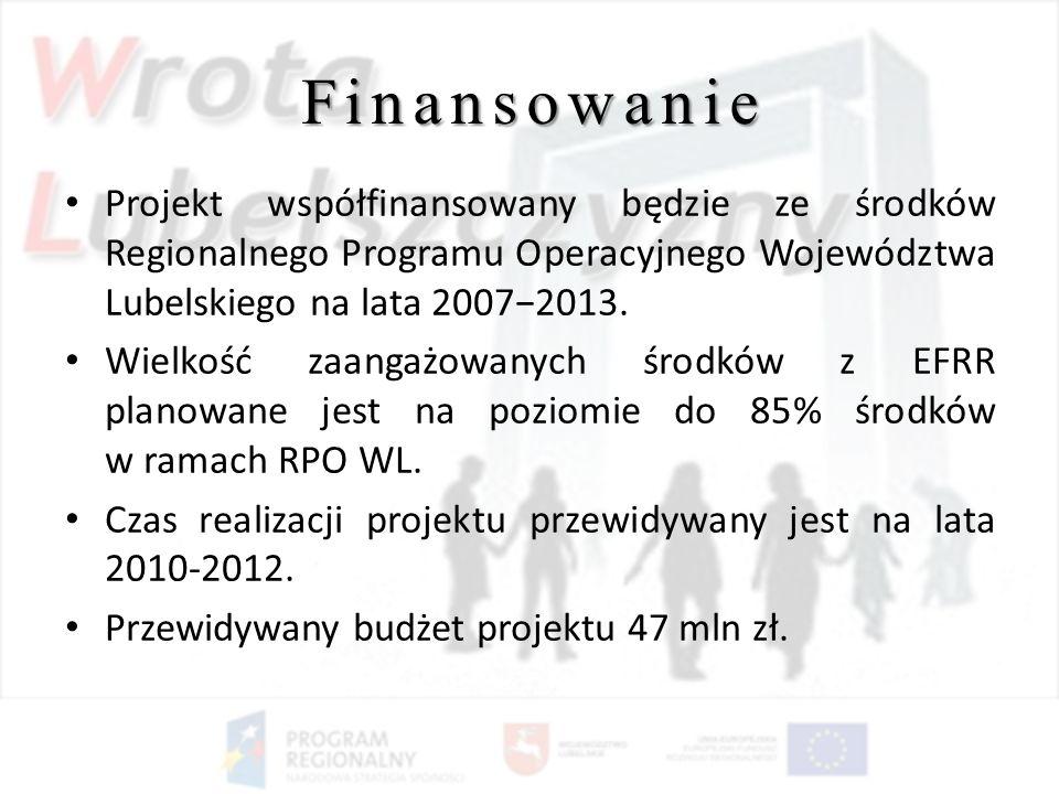 Finansowanie Projekt współfinansowany będzie ze środków Regionalnego Programu Operacyjnego Województwa Lubelskiego na lata 2007−2013.
