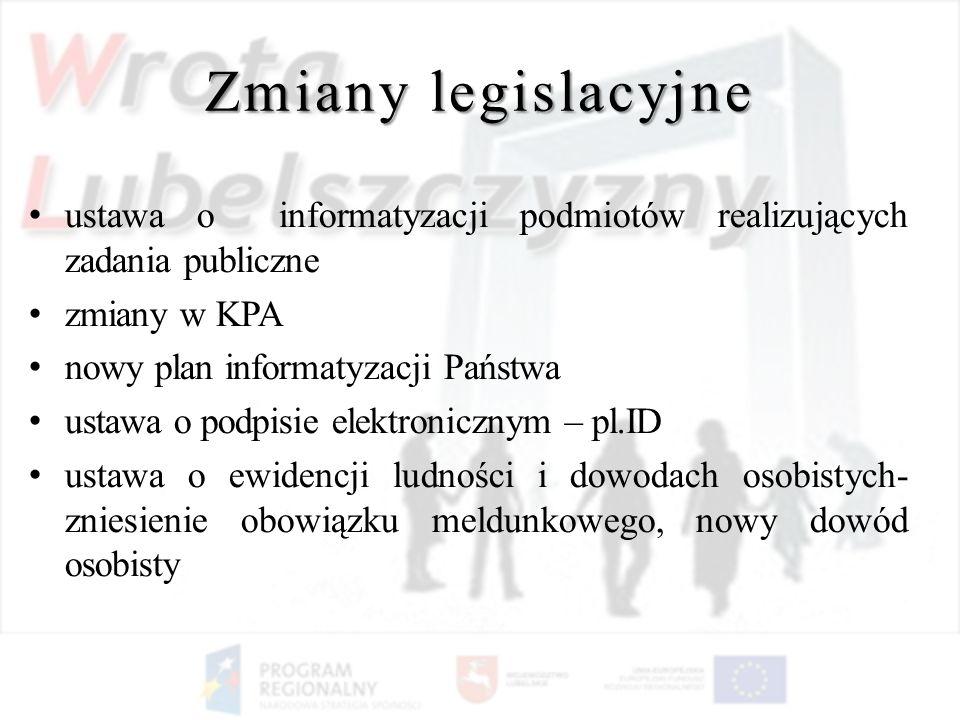 Zmiany legislacyjneustawa o informatyzacji podmiotów realizujących zadania publiczne. zmiany w KPA.