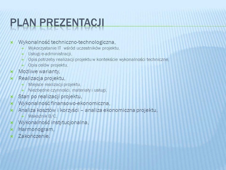 Plan Prezentacji Wykonalność techniczno-technologiczna,