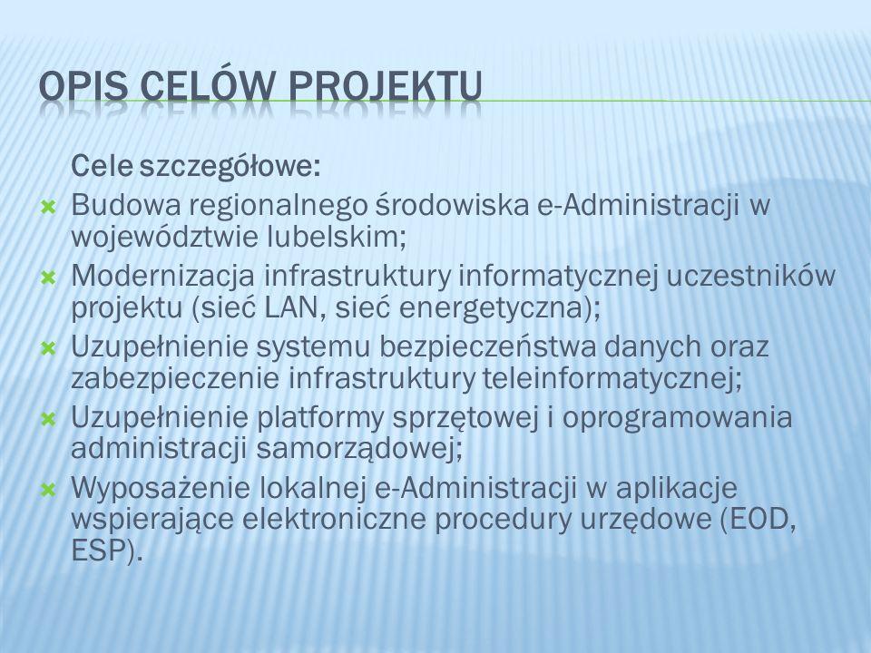 Opis celów projektu Cele szczegółowe: