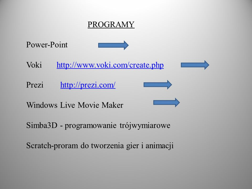 PROGRAMY Power-Point. Voki http://www.voki.com/create.php. Prezi http://prezi.com/ Windows Live Movie Maker.