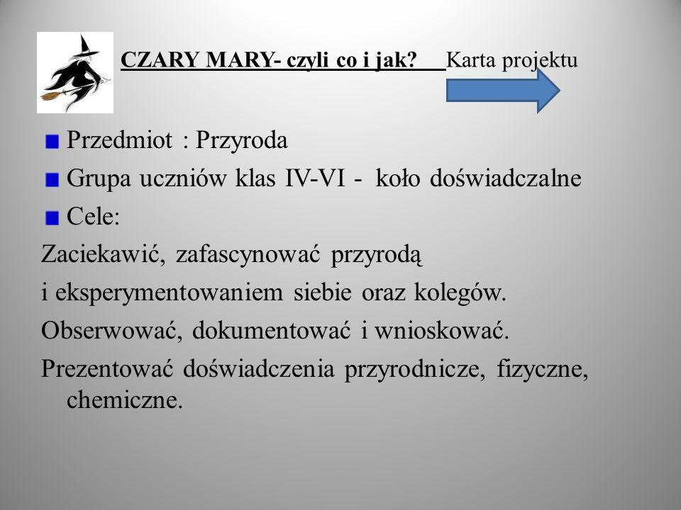 CZARY MARY- czyli co i jak Karta projektu