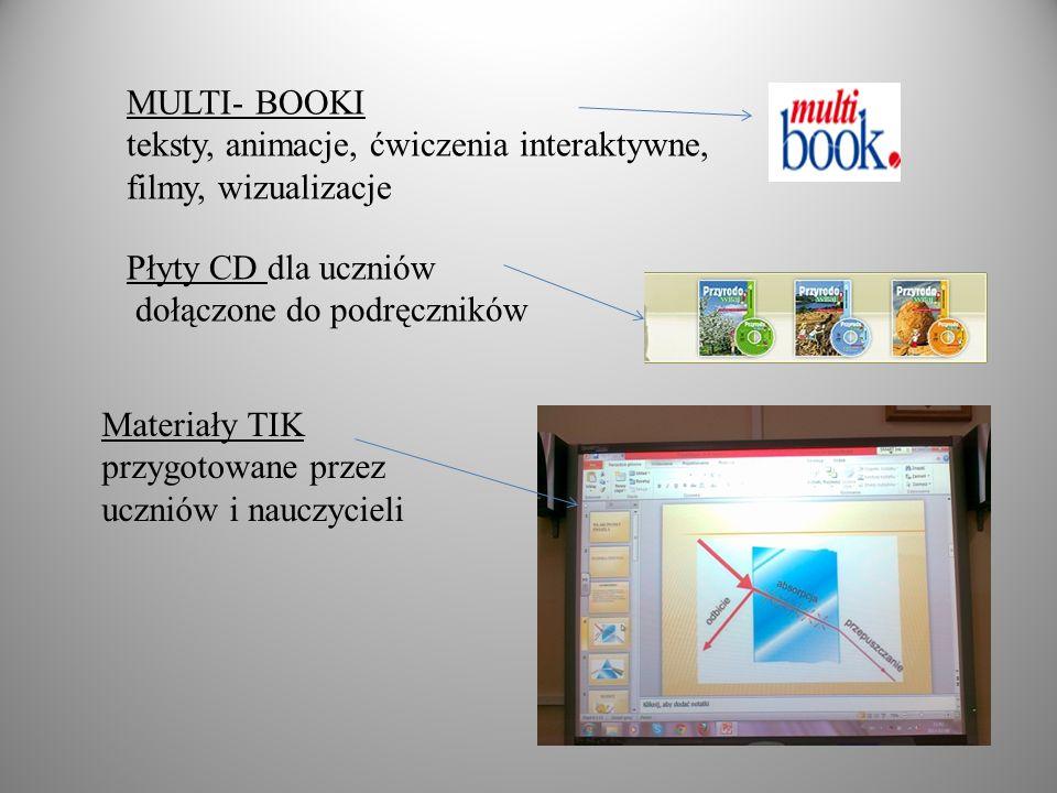 MULTI- BOOKI teksty, animacje, ćwiczenia interaktywne, filmy, wizualizacje. Płyty CD dla uczniów.