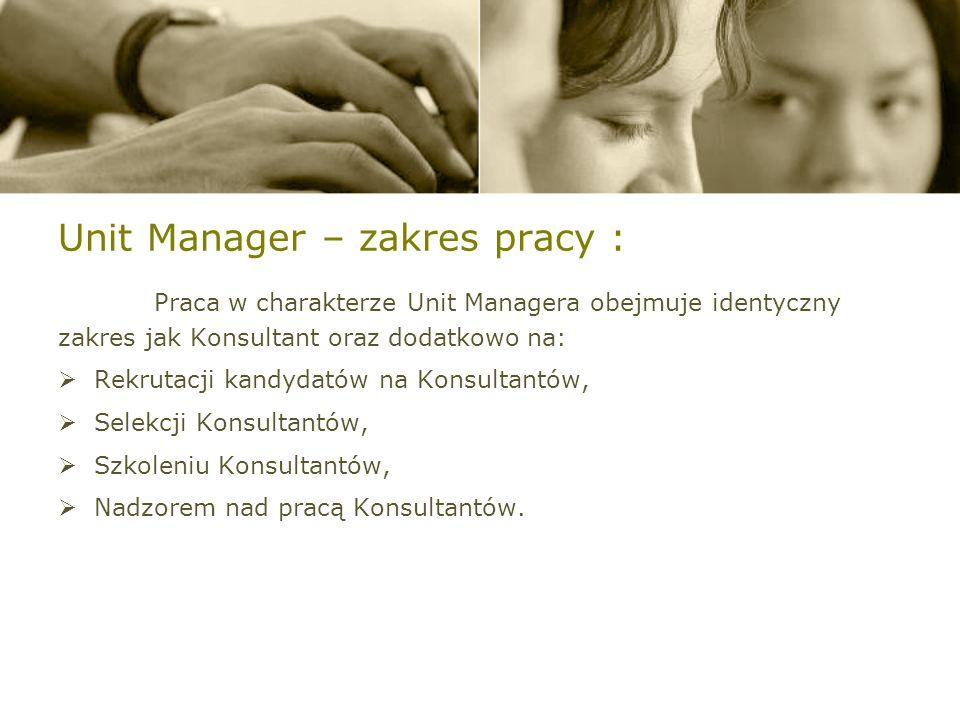 Unit Manager – zakres pracy :