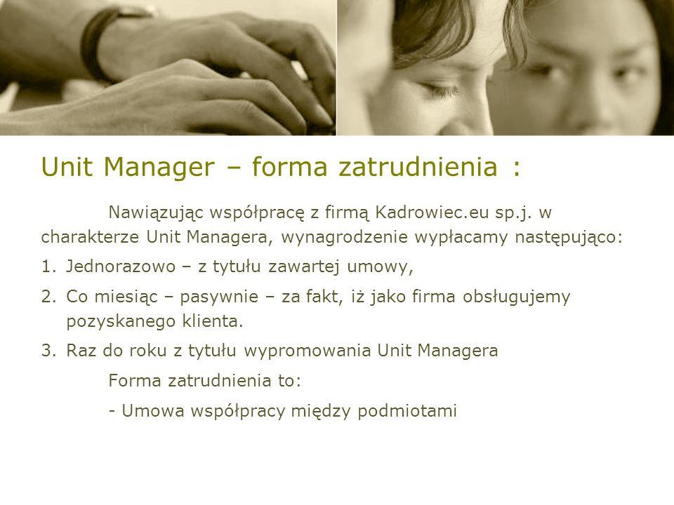Unit Manager – forma zatrudnienia :