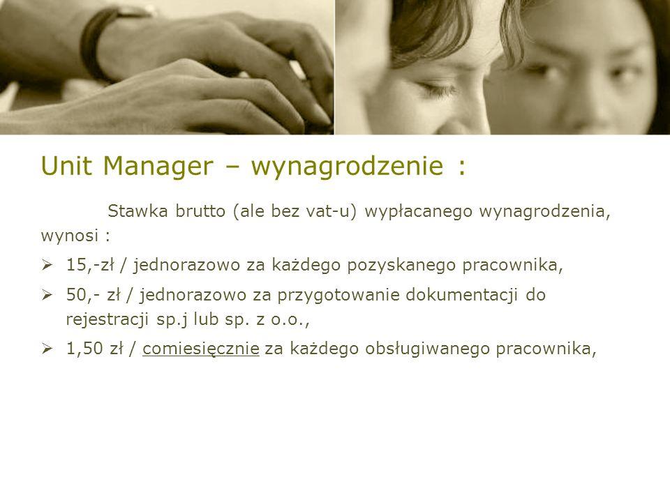 Unit Manager – wynagrodzenie :