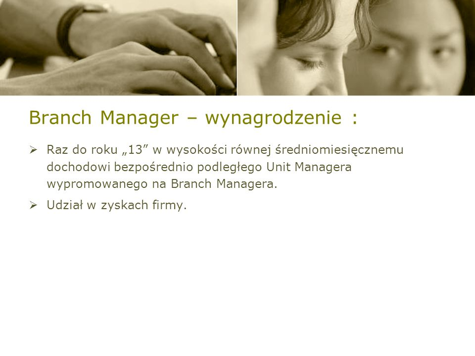 Branch Manager – wynagrodzenie :