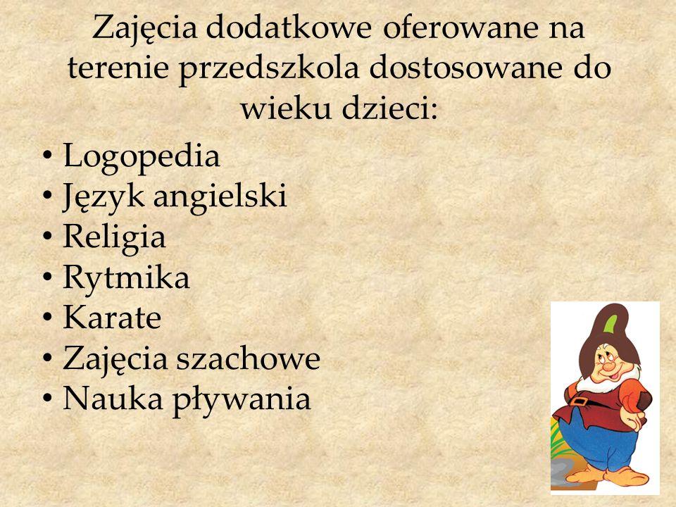 Zajęcia dodatkowe oferowane na terenie przedszkola dostosowane do wieku dzieci: