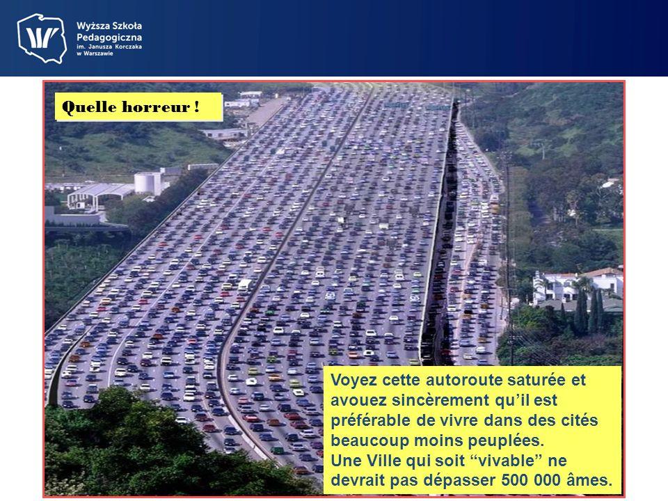 Quelle horreur ! Voyez cette autoroute saturée et avouez sincèrement qu'il est préférable de vivre dans des cités beaucoup moins peuplées.