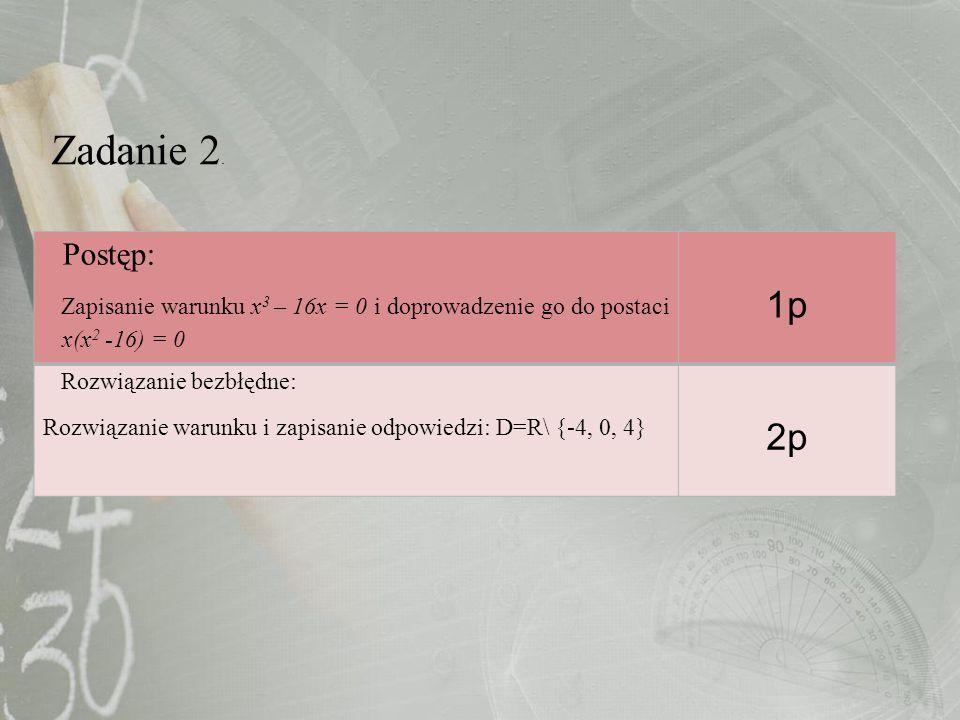 Zadanie 2. Postęp: Zapisanie warunku x3 – 16x = 0 i doprowadzenie go do postaci x(x2 -16) = 0. 1p.