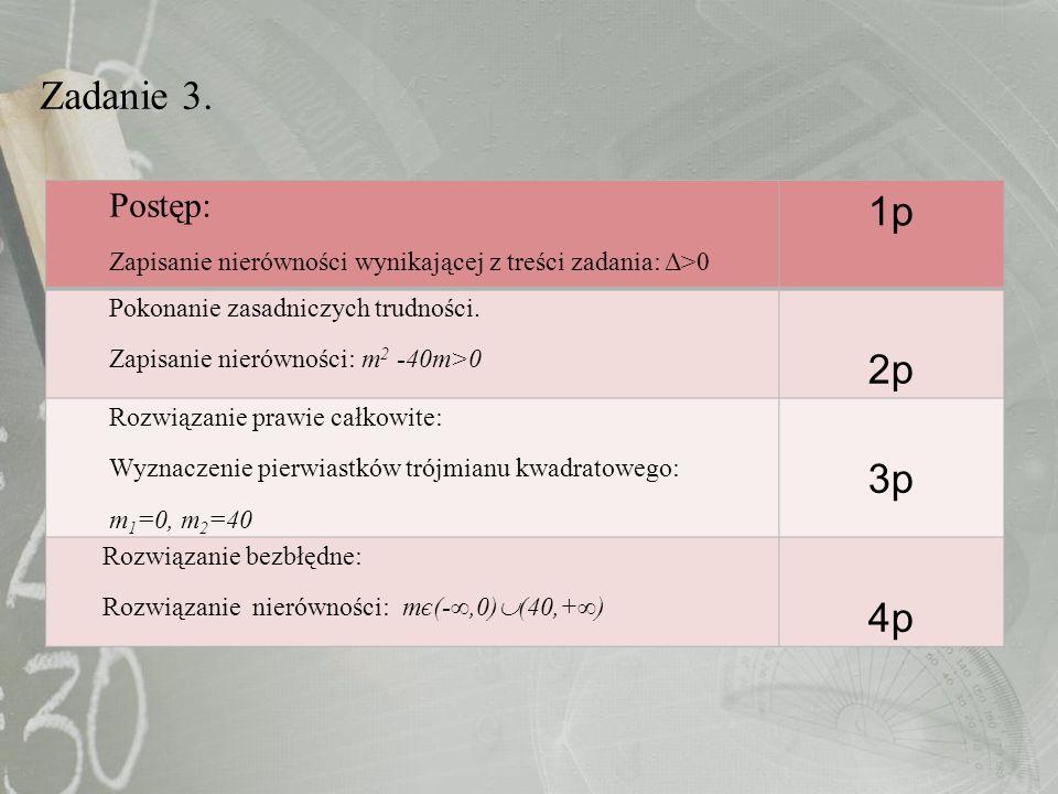 Zadanie 3. Postęp: Zapisanie nierówności wynikającej z treści zadania: Δ>0. 1p. Pokonanie zasadniczych trudności.