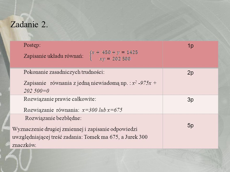 Zadanie 2. Postęp: Zapisanie układu równań: 1p