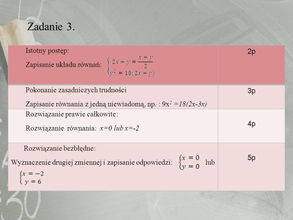 Zadanie 3. Istotny postęp: Zapisanie układu równań: 2p