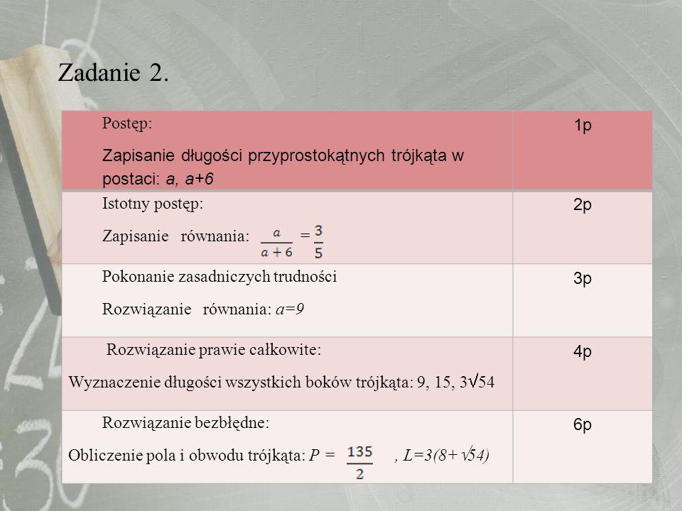 Zadanie 2. Postęp: Zapisanie długości przyprostokątnych trójkąta w postaci: a, a+6. 1p. Istotny postęp: