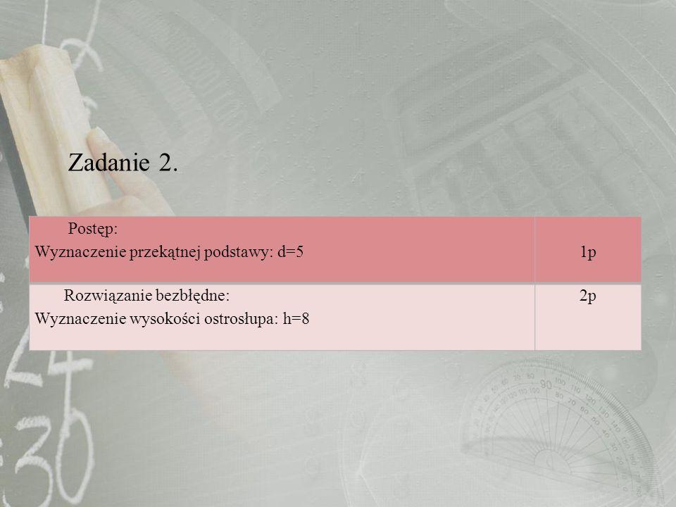 Zadanie 2. Postęp: Wyznaczenie przekątnej podstawy: d=5 1p