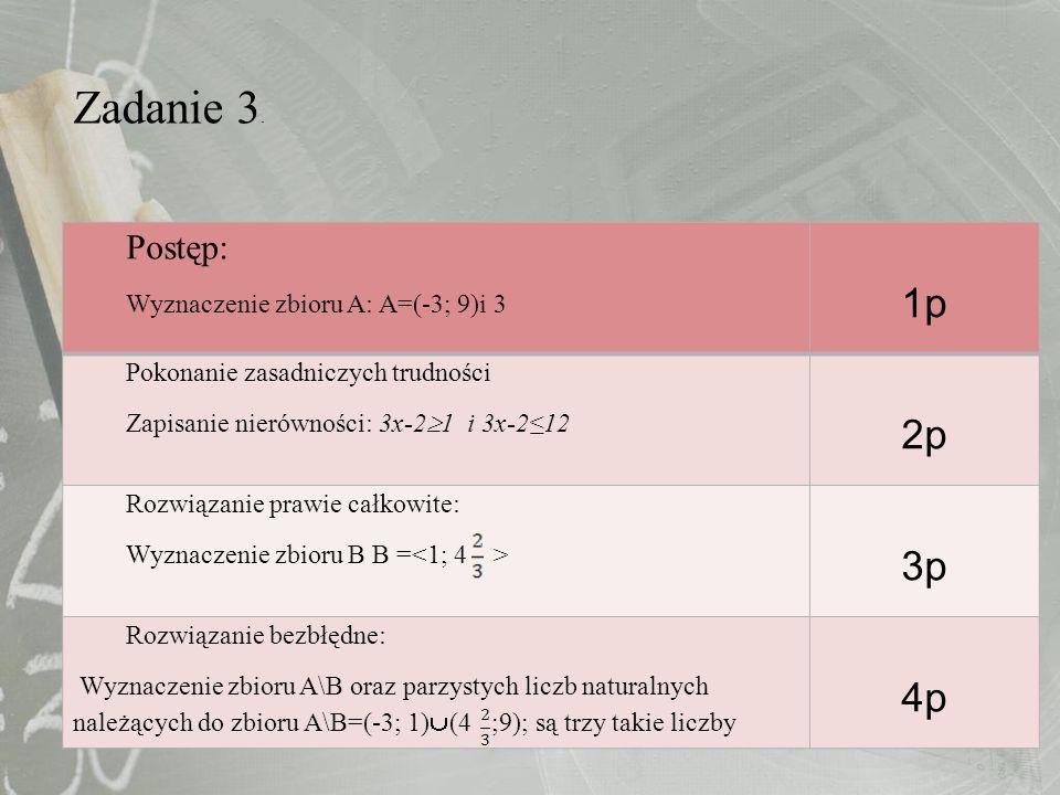 Zadanie 3. 1p 2p 3p 4p Postęp: Wyznaczenie zbioru A: A=(-3; 9)i 3