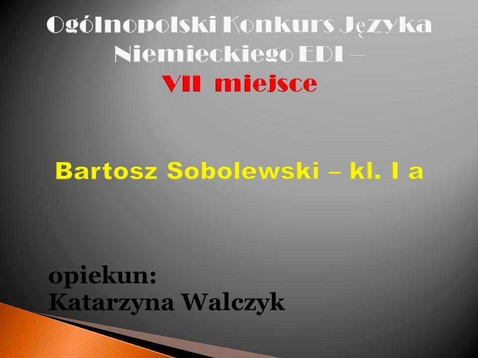 Ogólnopolski Konkurs Języka Niemieckiego EDI – VII miejsce Bartosz Sobolewski – kl. I a