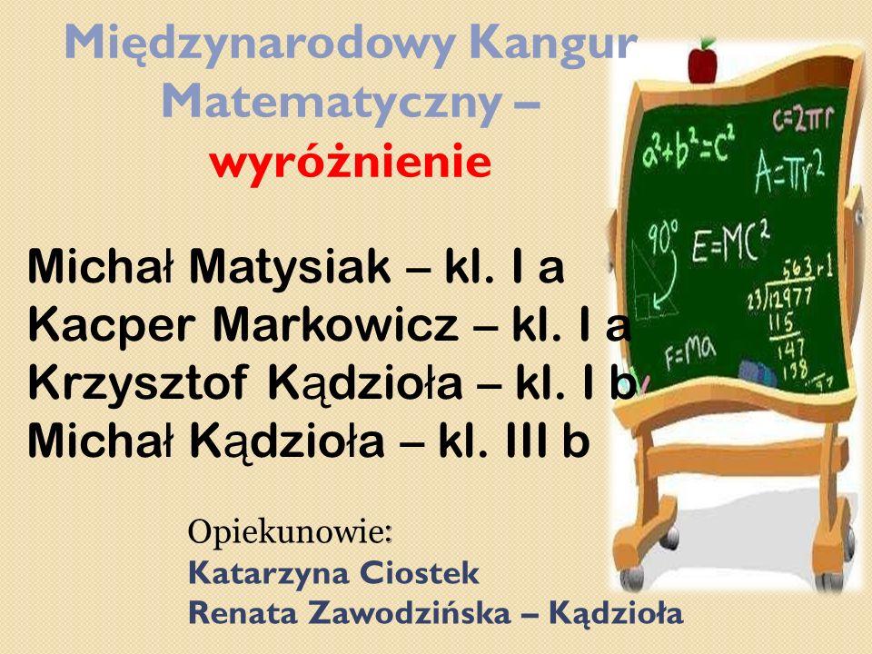 Międzynarodowy Kangur Matematyczny – wyróżnienie