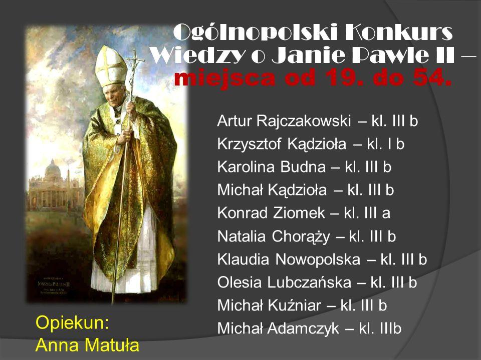 Wiedzy o Janie Pawle II – miejsca od 19. do 54.