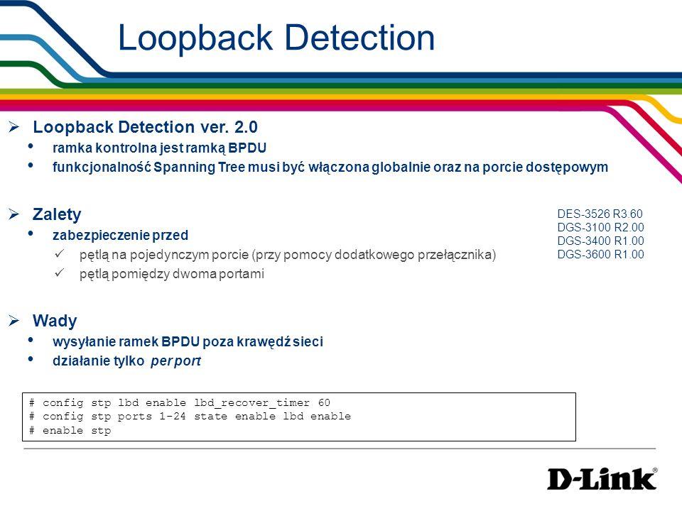 Loopback Detection Loopback Detection ver. 2.0 Zalety Wady