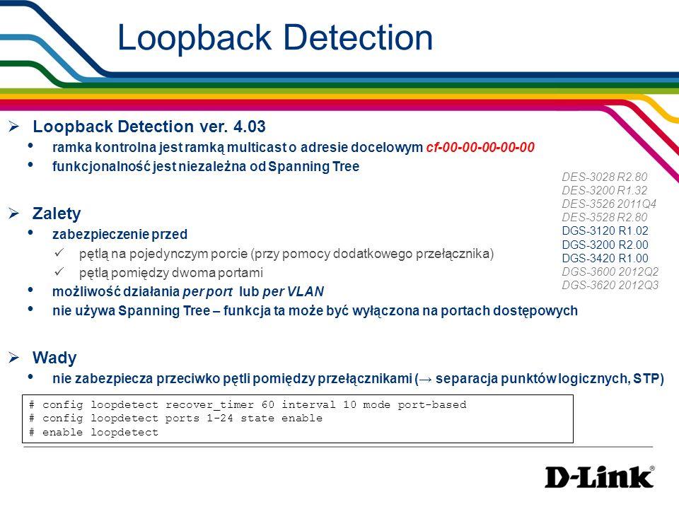 Loopback Detection Loopback Detection ver. 4.03 Zalety Wady