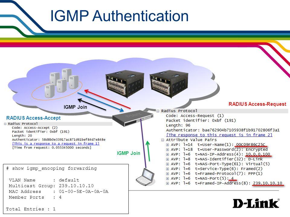 IGMP Authentication RADIUS Access-Request IGMP Join