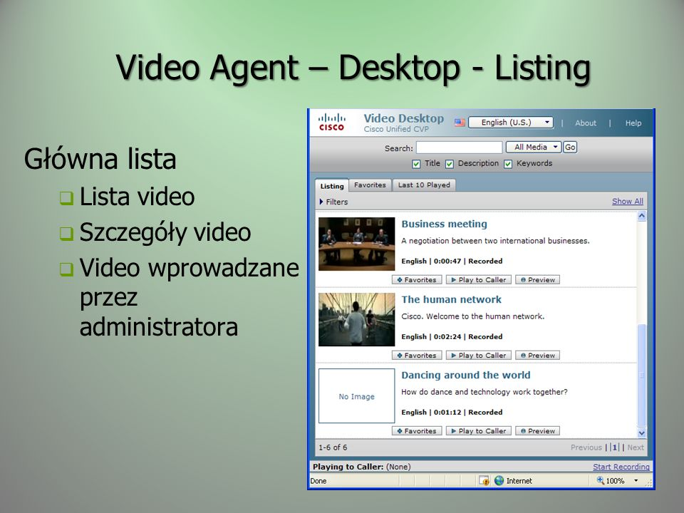 Video Agent – Desktop - Listing
