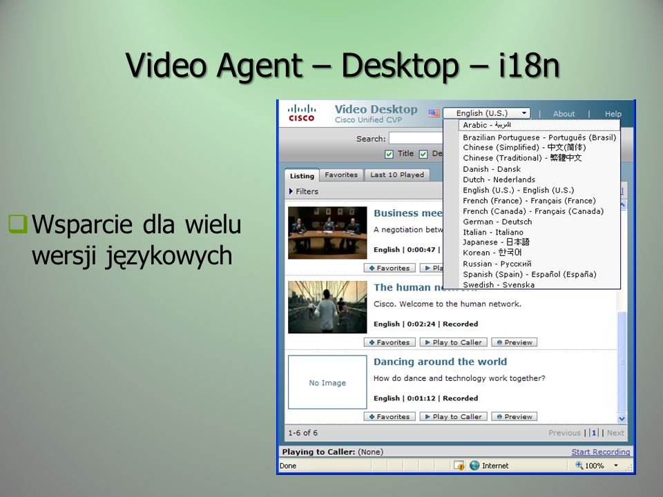 Video Agent – Desktop – i18n