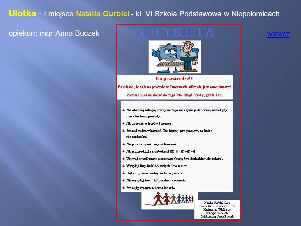 Ulotka - I miejsce Natalia Gurbiel - kl