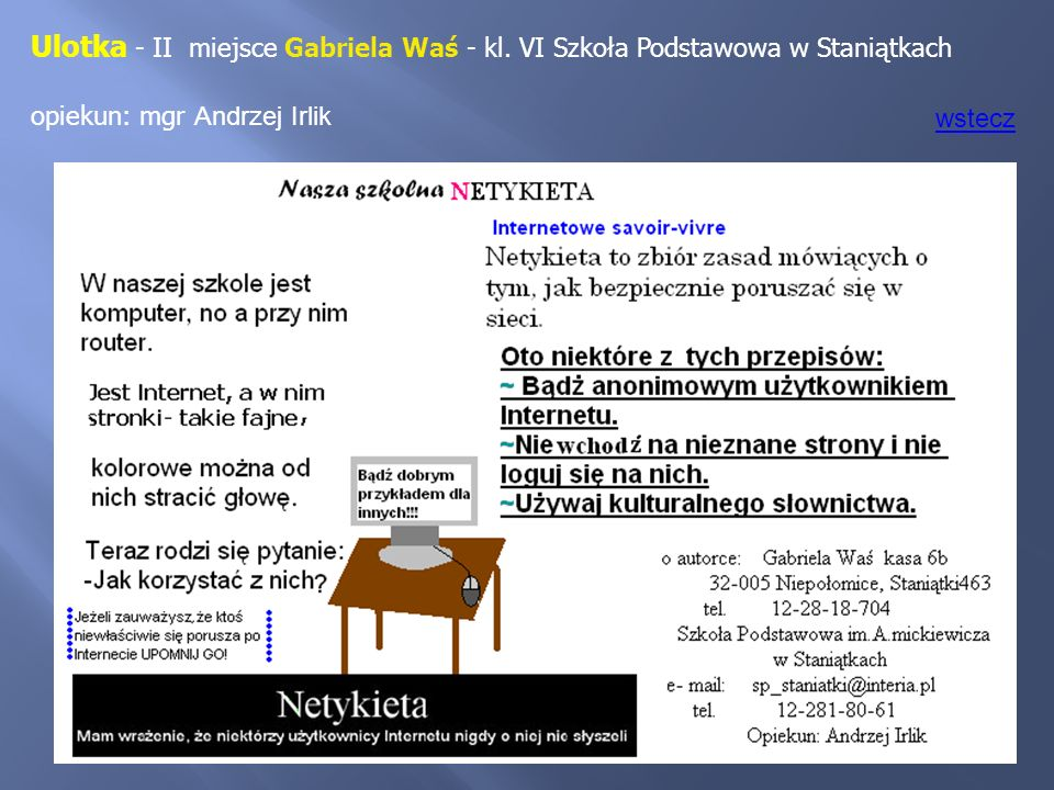 Ulotka - II miejsce Gabriela Waś - kl