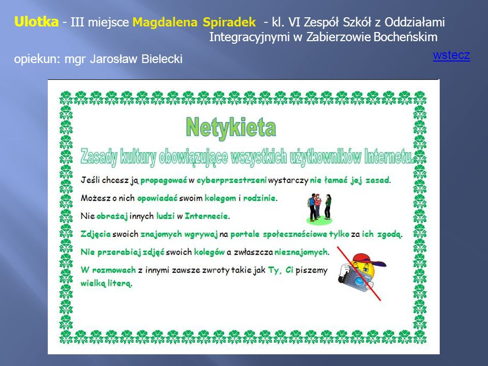 Ulotka - III miejsce Magdalena Spiradek - kl