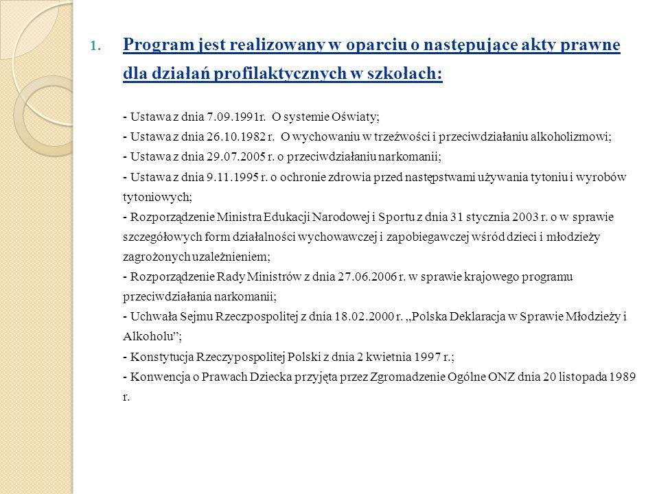 Program jest realizowany w oparciu o następujące akty prawne dla działań profilaktycznych w szkołach: - Ustawa z dnia 7.09.1991r.