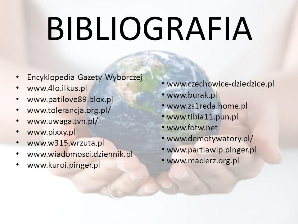 BIBLIOGRAFIA Encyklopedia Gazety Wyborczej www.4lo.ilkus.pl