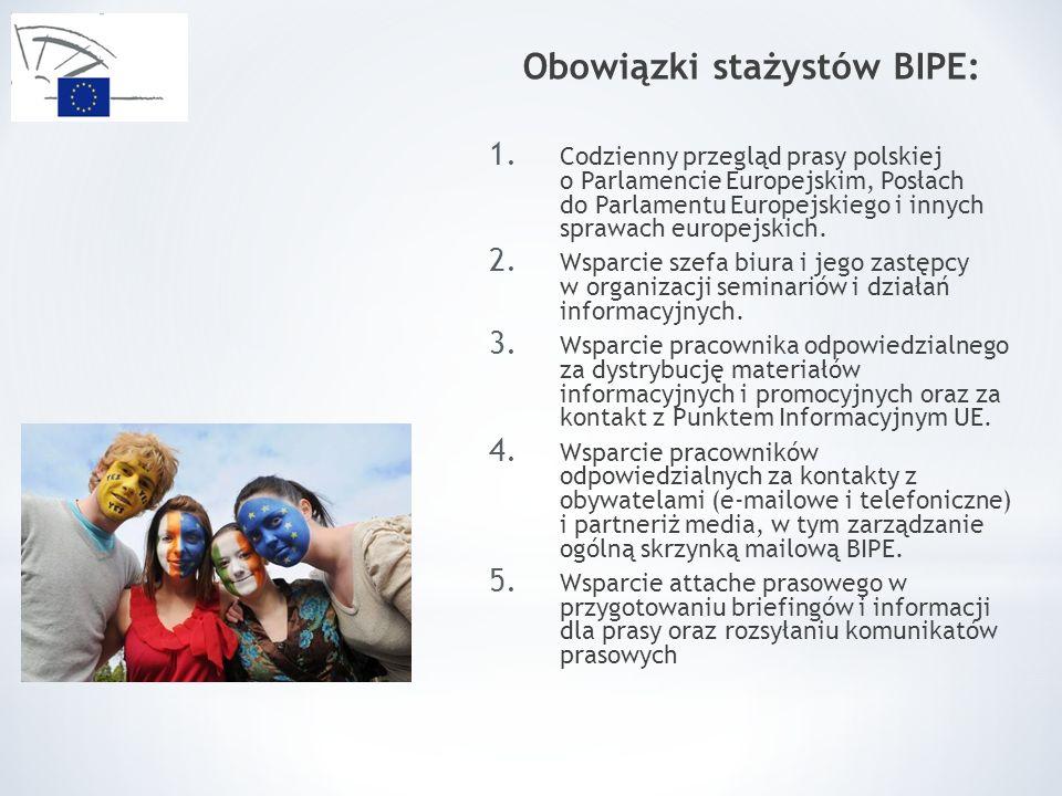 Obowiązki stażystów BIPE: