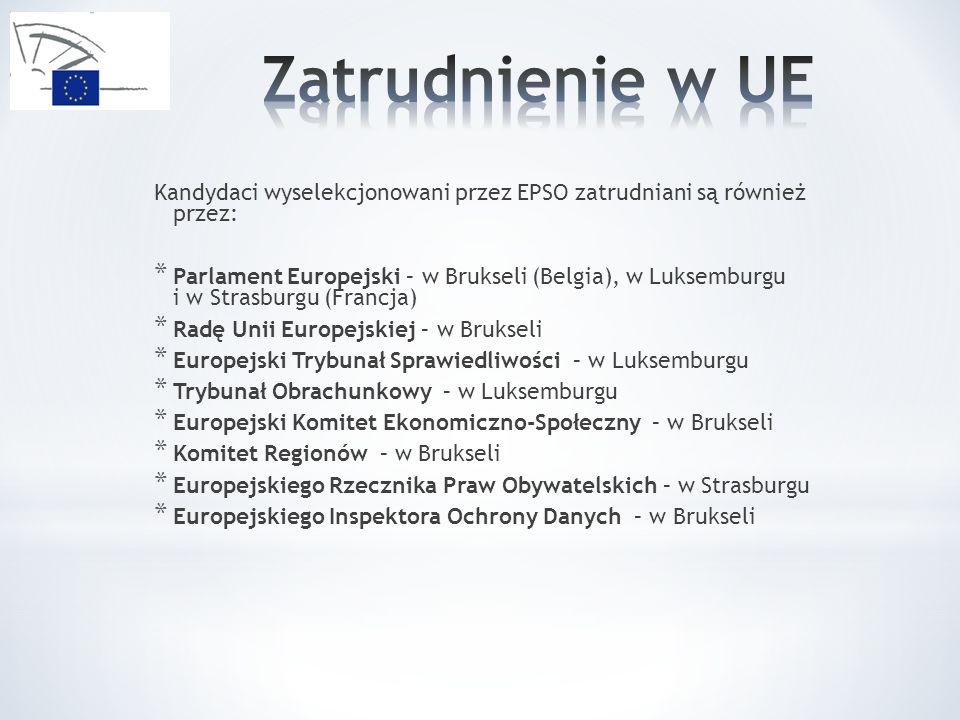 Zatrudnienie w UE Kandydaci wyselekcjonowani przez EPSO zatrudniani są również przez: