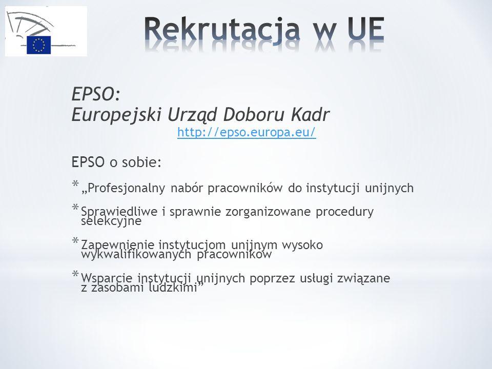 Rekrutacja w UE EPSO: Europejski Urząd Doboru Kadr EPSO o sobie: