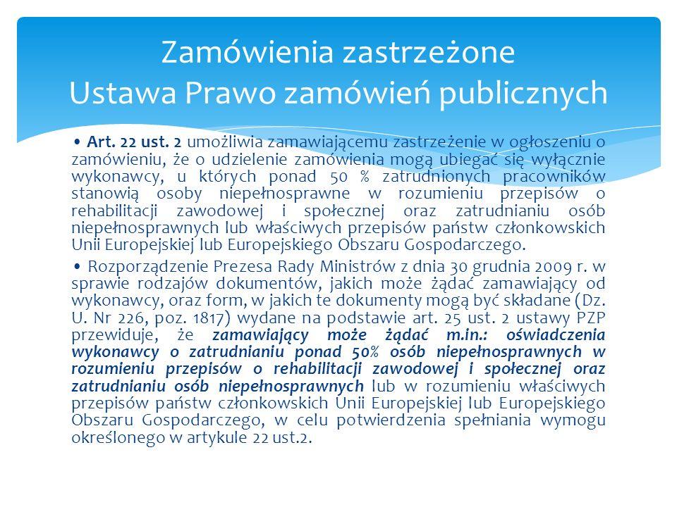 Zamówienia zastrzeżone Ustawa Prawo zamówień publicznych