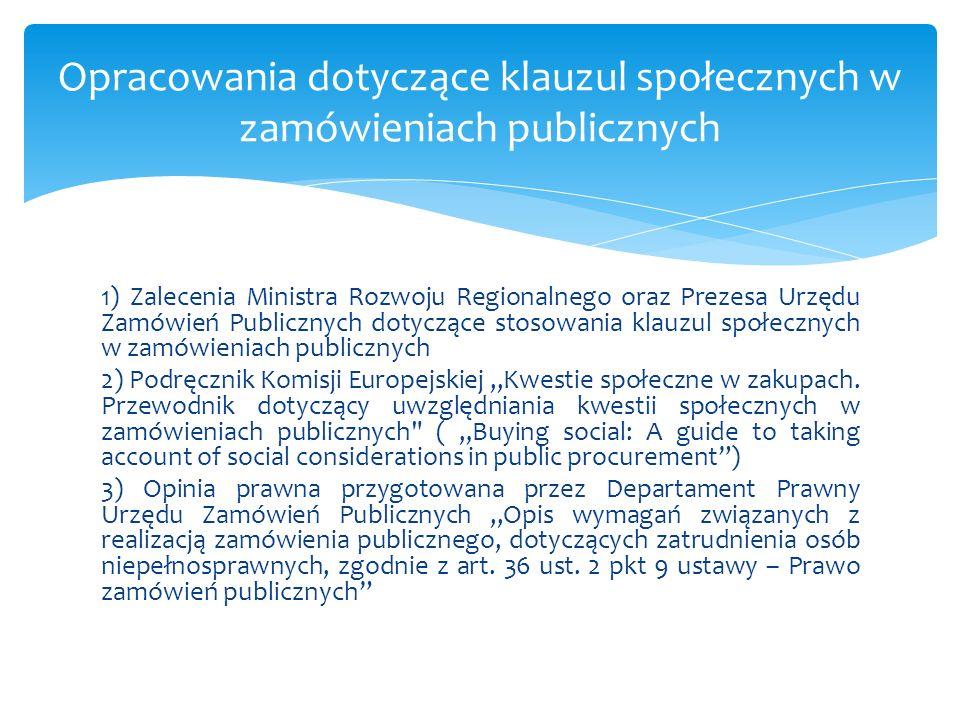Opracowania dotyczące klauzul społecznych w zamówieniach publicznych