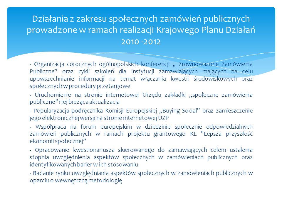 Działania z zakresu społecznych zamówień publicznych prowadzone w ramach realizacji Krajowego Planu Działań 2010 -2012