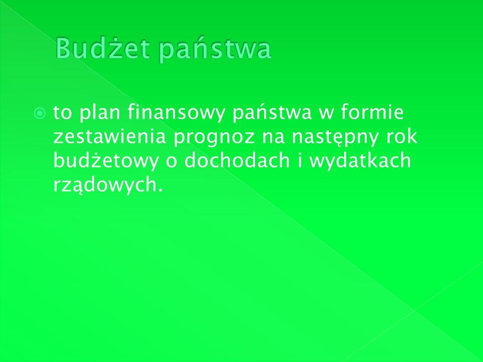 Budżet państwa to plan finansowy państwa w formie zestawienia prognoz na następny rok budżetowy o dochodach i wydatkach rządowych.