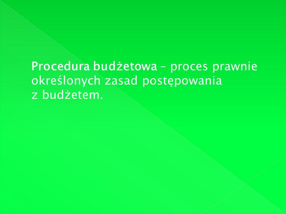 Procedura budżetowa – proces prawnie określonych zasad postępowania z budżetem.