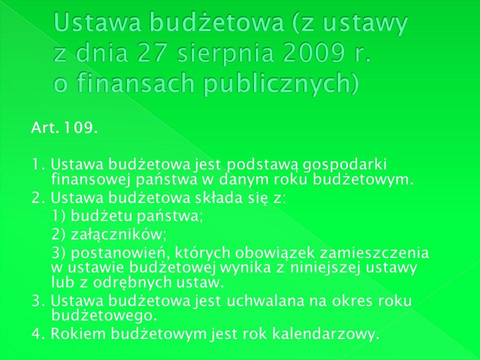 Ustawa budżetowa (z ustawy z dnia 27 sierpnia 2009 r
