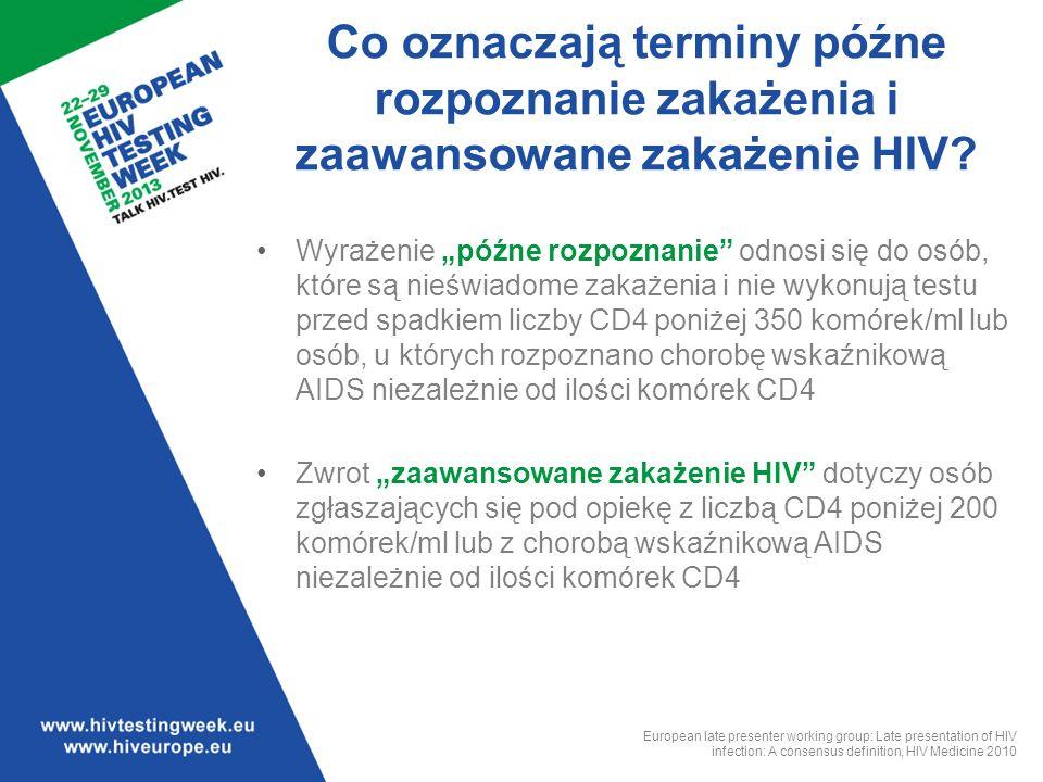"""Powszechnie uznawana definicja """"późnego rozpoznania i """"zaawansowanego zakażenia HIV jest istotna dla ułatwienia porównań i przeprowadzania badań dotyczących trendów czasowych pomiędzy krajami i regionami."""