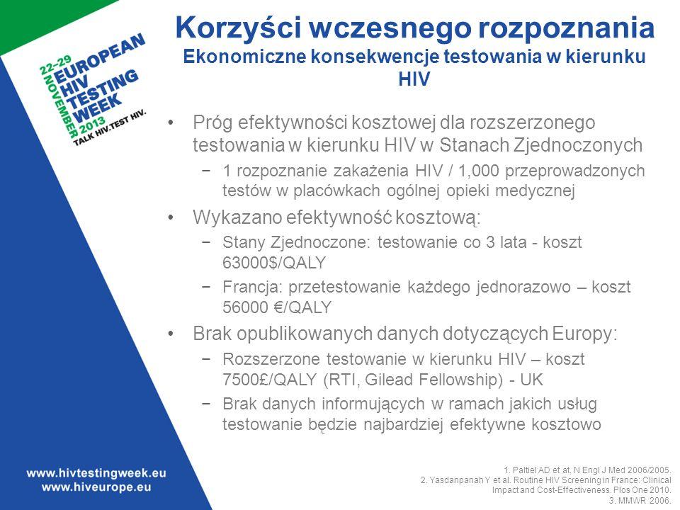 3030 Testowanie w kierunku HIV okazało się efektywne kosztowo w Stanach Zjednoczonych w momencie gdy 1 z 1000 wykonanych testów ma wynik pozytywny.