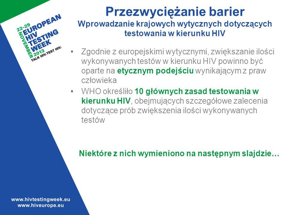 Wprowadzone zostać powinny krajowe wytyczne dotyczące testowania w kierunku HIV oparte na wytycznych opracowanych przez WHO i ECDC.