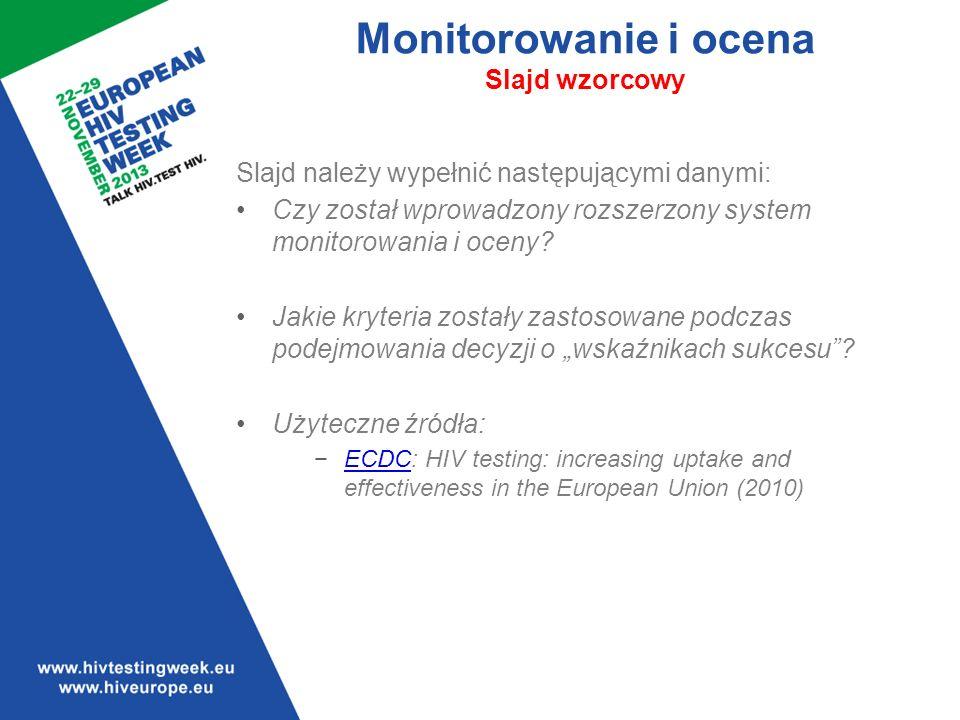 Monitorowanie i ocena Slajd wzorcowy